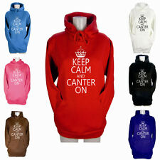 WOMENS KEEP CALM AND CANTER ON HOODIES GIRLS RIDING JODHPURS HOODY XS S M L XL