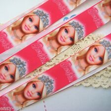 "7/8"" Printed Barbie Face Diamond Crown Grosgrain Ribbon DIY Craft Z237 E#"