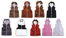 Kids VEST With Animal Hoodie Plush Fluffy Warm Great Gift For Children Small-XL