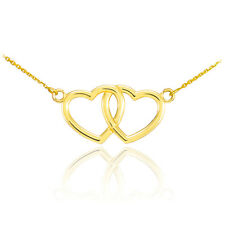 14K Yellow Gold Double Heart Pendant Sideways Necklace Valentine's Day Gift
