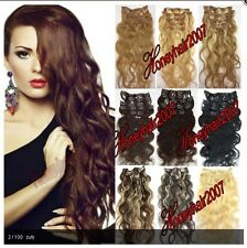 "18""-22"" Wavy / Curly Clip in Real Human Hair Extensions, Full Head100% Body Wave"
