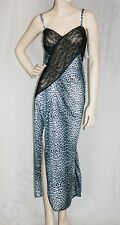 WOMENS PLUS SIZE SLEEPWEAR LONG SNOW LEOPARD PRINT NIGHTIE WITH LACE TRIM