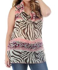 WOMENS PLUS SIZE CLOTHING SHEER PINK ANIMAL PRINT CHIFFON COWL NECK TUNIC TOP