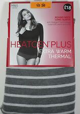 NEW MARKS AND SPENCERS HEAT GEN PLUS THERMAL LONG SLEEVE T-SHIRT BLACK AND CREAM