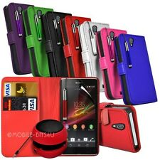 Leather wallet Case,Speaker, Retractable Stylus & Film For Various Mobile Phones