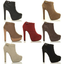 WOMENS LADIES PLATFORM HIGH HEEL ZIP ANKLE SHOE BOOTS BOOTIES SIZE