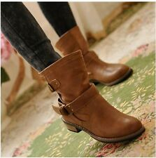 Womens Fashion round toe strap Buckle flat Automn Winter snug Casual Ankle Boots