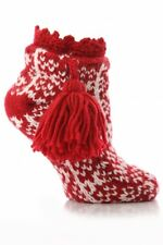 1 Pair Urban Knit Ladies Fairisle Bootie Non Slip With Large Tassle 4-8 Red New