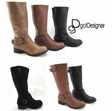 NEW Women's Fashion Shoes Cool Riding Knee High Boots Motorcycle Slouch Military