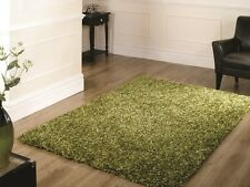 Affordable Non Shed Green Mix Shag Pile Rugs Dense Soft Texture Easy Clean Mats