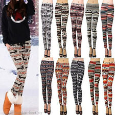 Vogue Warm Women Tribal Colorful Print Soft Knitted Pencil Tights Pants Leggings