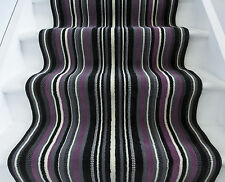Long Soft Modern Purple Black Striped Hallway Rugs Any Length Carpet For Stairs