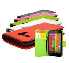 5 Colour PU Leather Wallet Flip Mobile Phone Case Cover For Motorola Moto G