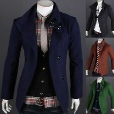 New Mens Jacket Slim Fit Winter Warm Long Trench Casual Double Breasted Overcoat
