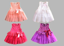 Girl Dress - Wedding/ Party/ Formal Day/ Fancy BABY 1 2 3 4 WHITE PINK PURPLE