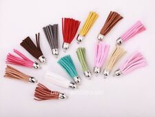 5pcs Various Colors Artificial Leather Tassel Charms Pendants for DIY Craft