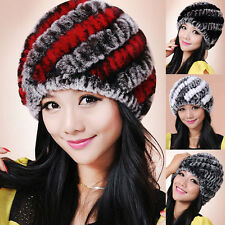 Women'S Elegant Multicolor Girls Real Rex Rabbit fur ski Beanie hat cap headwear