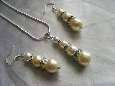 pearl jewellery set 2 pc sterling silver bridal, formal occasion UK ivory tone