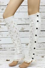 White LEG WARMERS Lace woman Button Down Knit Boot Socks Knee High,leaf knit