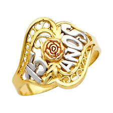14K Tri-Tone Gold Artisan Sweet Quinceanera 15-Anos Rose Flower Ring