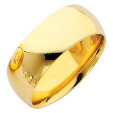 10K Polished Solid Yellow Gold Classic Comfort Fit Promise Ring 8MM Wedding Band