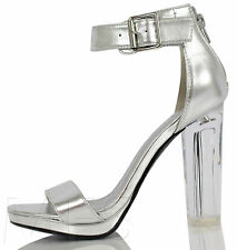 Delicious Women's Cargo Wide Strap Ankle Strap Clear Lucite High Heels