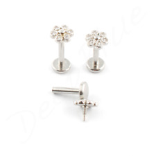 Steel Labret PAVE SET FLOWER Multi Gems Internal Thread CHOOSE SIZE lip Tragus
