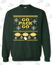 "Green Bay Packers Fans ""Ugly Sweater"" Crewneck Sweatshirt - FOREST GREEN Go Pack"