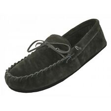 MEN'S MOCCASINS - BLACK - HOUSE SLIPPERS - INDOOR OUTDOOR HOME SHOES -M080004-2
