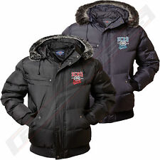 Mens Ecko Unltd Jacket Coat Parka Bomber Padded Warm Fur Trim Removable Hood