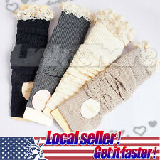 Crochet Lace Trim Cotton Knit Leg Warmers Boot Socks Knee High Off White Grey