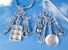 Chef Culinary Baker Cook Kitchen Utensils Steel Key Ring, Car Charms, Bookmark