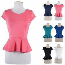 Cute Solid Plain Round Neck Cap Sleeve Fitted Peplum Skater Top Blouse Shirt