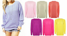Womens Ladies Oversized Baggy Long Thick Knitted Plain Chunky Top Sweater Jumper