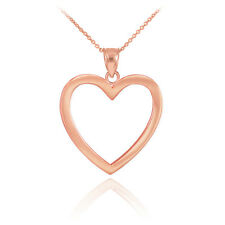 10K Polished Rose Gold Open Heart Pendant & Chain Necklace with Gift Box