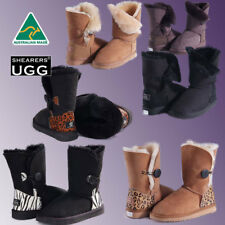 Premium Hand-Made Australia Shearers UGG Single Button Sheepskin Short Boots