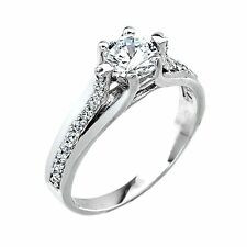 10K White Gold Round Clear CZ 1.0ct Engagement Wedding Ring 2.3mm Made in USA