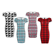 Ladies Girls New Tartan Check Peter Pan Collar Stretch Bodycon Dress Tunic Print