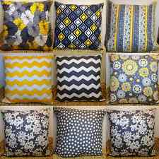 Gray and Yellow Designer Fabric Pillow Cases/Covers 100% Cotton 18x18