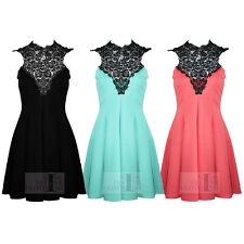 Womens Sleeveless Crochet Lace Tie Neck Pleated Skater Skirt Flare Party Dress