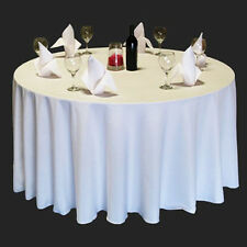 "90"" Round Polyester Tablecloths Wedding Restaurant Banquet - 4 Colors!"