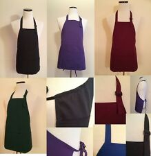 "NEW ADJUSTABLE BIB APRON 3-SECTION KANGAROO POCKETS MULTIPLE COLORS 24""L x 28""W"