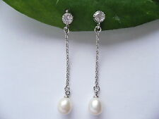 925 Stamped Sterling Silver Real Freshwater Pearl Tear Drop Chain Earrings Gift