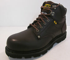 Mens Caterpillar Dark Brown Leather lace-up safety work boot GROUSER ST
