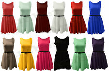 Womens New Tailored Belted Flare Skater Short Sleeveless Party Girls Shift Dress