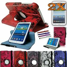 Rotating Leather Cover Case for Samsung Galaxy Tab 3 7.0 Tablet Accessory Bundle