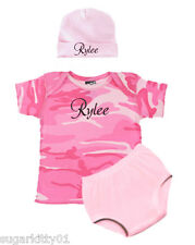 Personalized Pink Camo Baby Girl Infant Tee, Hat & Diaper Cover Free Ship