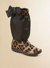 PRADA GIRL'S ADORABLE LOGO BOW ANIMAL PRINT ZIPPER TALL BOOTS EU 34 US 2