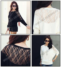 Womens Laced Long Sleeve Loose T Shirt Blouse Sexy Hot Top Lace