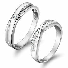 Silver Tone Infinity Promise Engagement Ring Blossom Couples Wedding Band